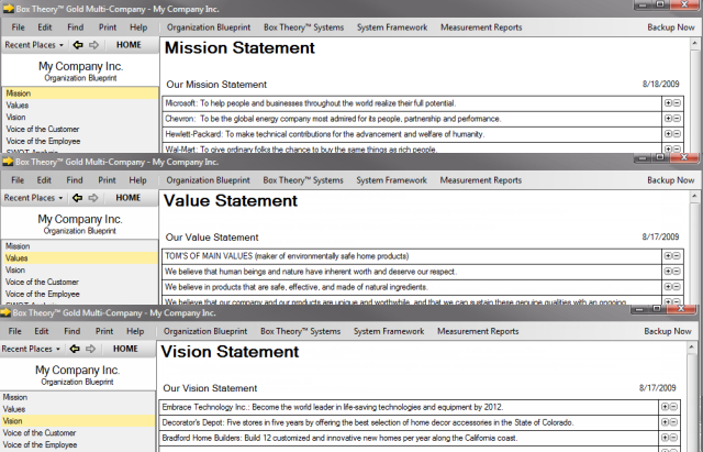 Mission, Values, Vision Statements